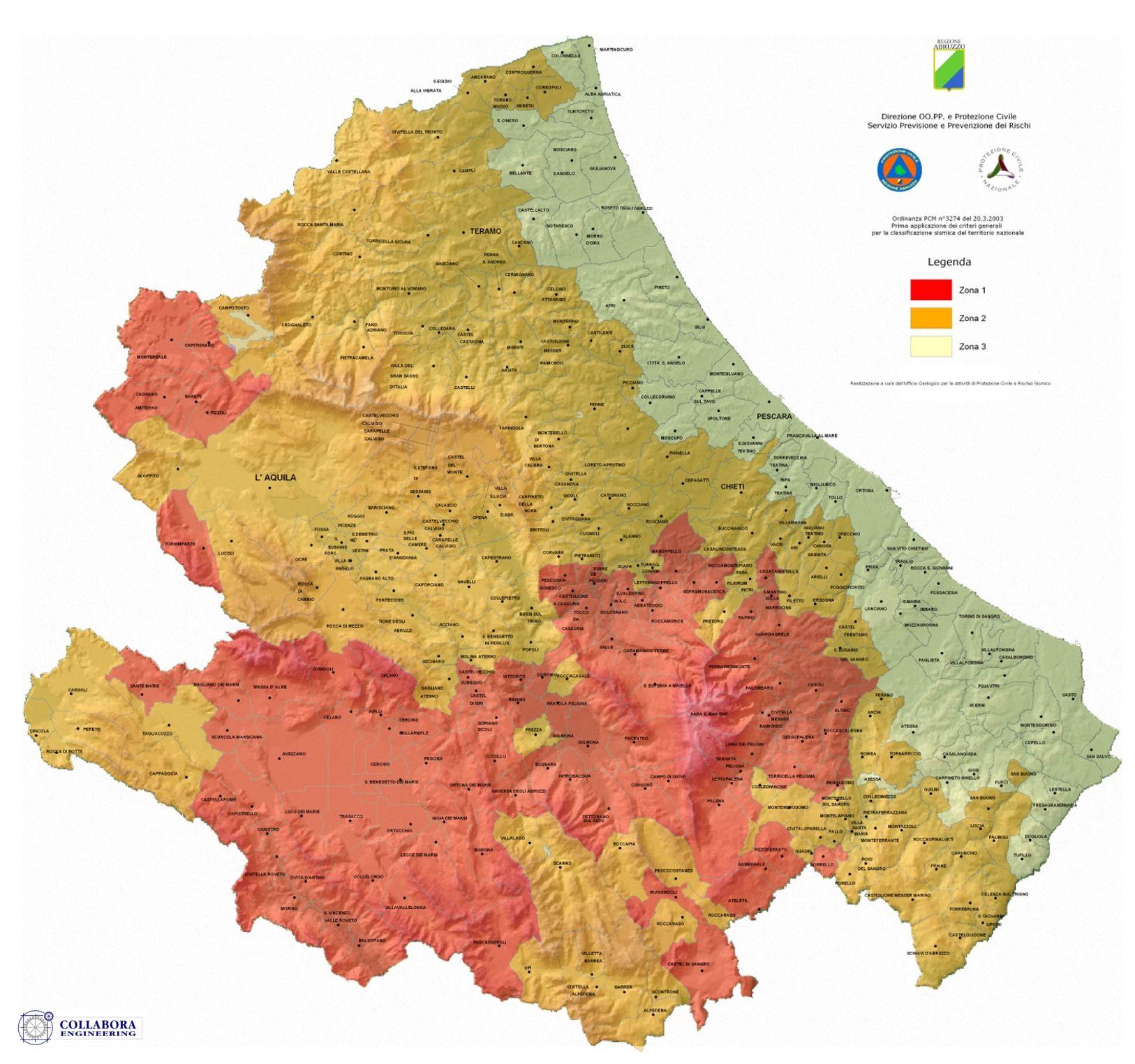 Cartina Dettagliata Abruzzo.Protezione Civile Zone Sismiche