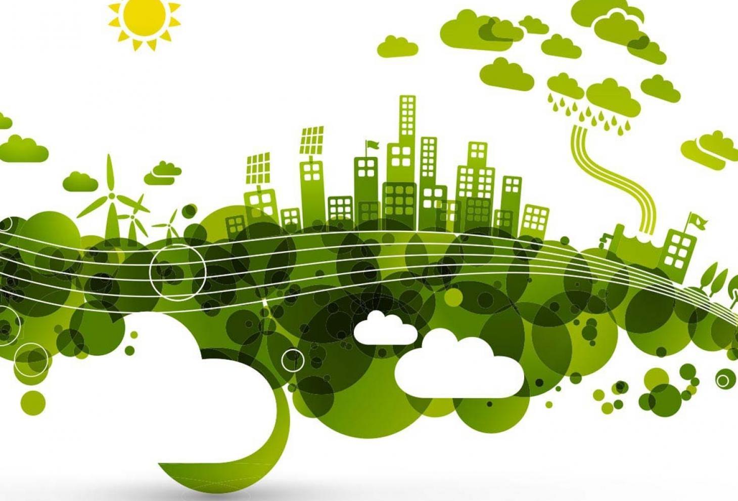 Disegno di una città verde