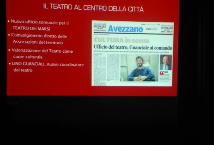 foto: Teatro al Centro della città e articolo su Lino Guanciale