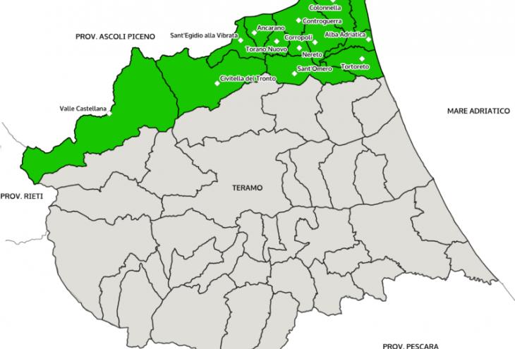 Mappa geografica Vibrata-Tronto