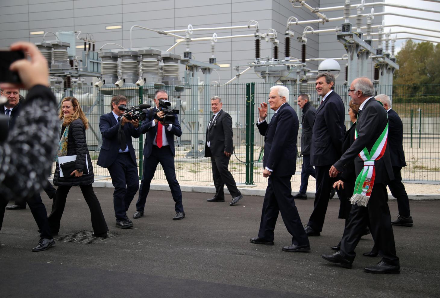 Il presidente Mattarella arriva all'impianto terna di Cepagatti (PE)