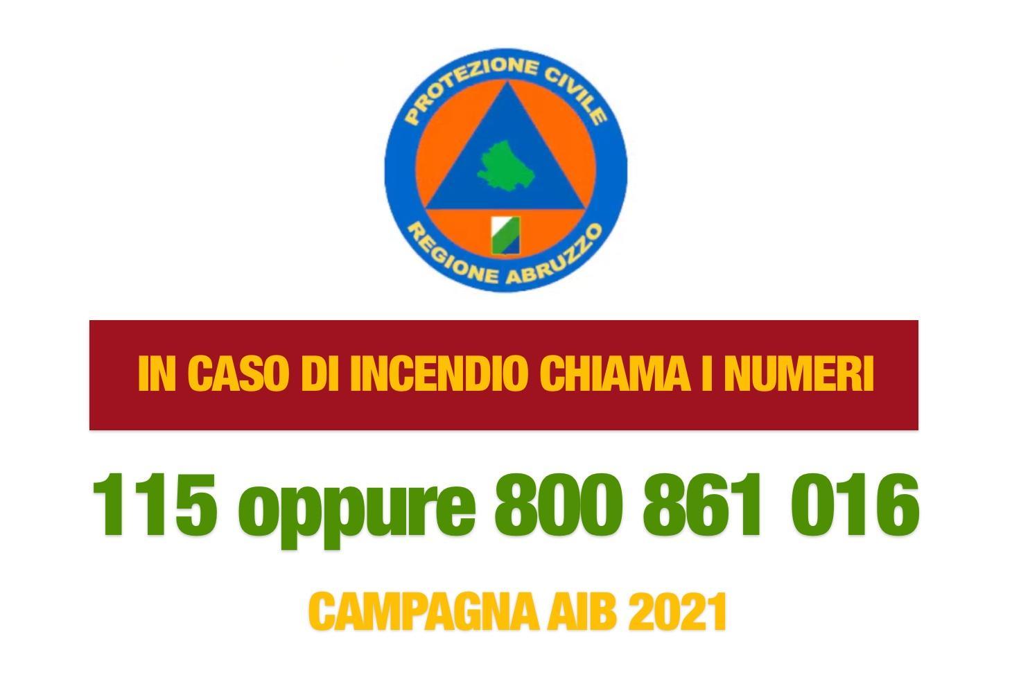 Campagna AIB 2021 - In caso di incendio chiama il 115 oppure il numero verde 800 861 016
