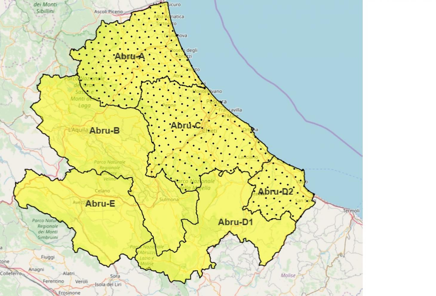 Cartina Della Regione Abruzzo.Maltempo Avviso Meteo E Allerta Gialla Per Domenica 17 Novembre Regione Abruzzo