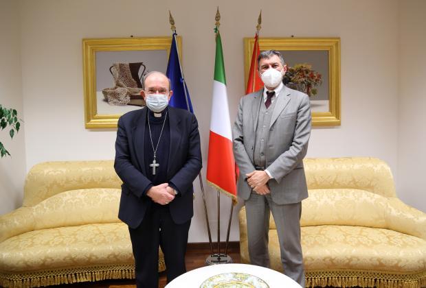 Regione: Marsilio, il cardinale Petrocchi in visita a Palazzo Silone